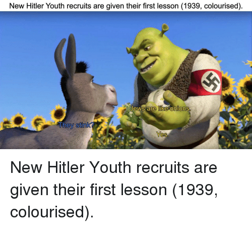 stink: New Hitler Youth recruits are given their first lesson (1939, colourised).  ews are like onions  They stink?  Yes New Hitler Youth recruits are given their first lesson (1939, colourised).