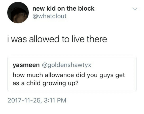 new kid: new kid on the block  @whatclout  i was allowed to live there  yasmeen @goldenshawtyx  how much allowance did you guys get  as a child growing up?  2017-11-25, 3:11 PM