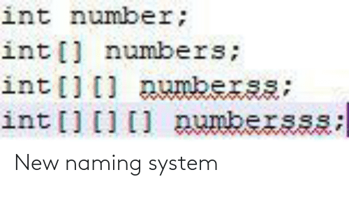 system: New naming system
