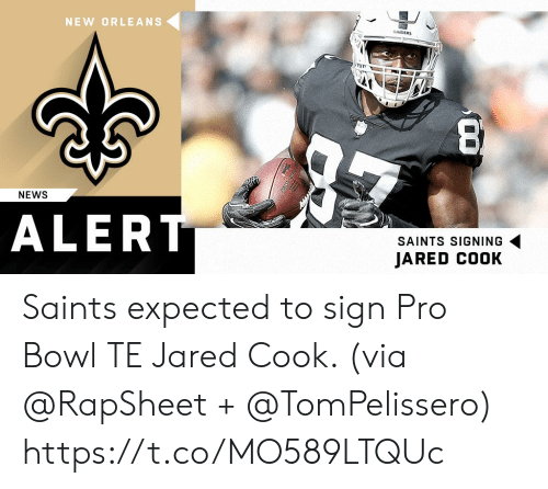 Memes, News, and New Orleans Saints: NEW ORLEANS  NEWS  ALER  SAINTS SIGNING  JARED COOK Saints expected to sign Pro Bowl TE Jared Cook. (via @RapSheet + @TomPelissero) https://t.co/MO589LTQUc