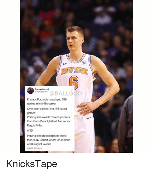 Kristaps Porzingis: NEW YORK  Tommy Beer  @TommyBeer  efonivbaeBALLGOD  Kristaps Porzingis has played 186  games in his NBA career.  Over each players' first 186 career  games:  Porzingis has made more 3-pointers  than Kevin Durant, Gilbert Arenas and  Reggie Miller.  AND  Porzingis has blocked more shots  than Rudy Gobert, Andre Drummond  and Dwight Howard  8/2/18,11:33 AM KnicksTape