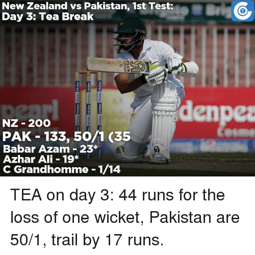 Ali, Memes, and New Zealand: New Zealand vs Pakistan, 1st Test:  Day 3: Tea Break  denpea  NZ 2OO  PAK 133, 50/1 (35  Babar Azam 23  Azhar Ali 19*  C Grandhomme 1/14 TEA on day 3: 44 runs for the loss of one wicket, Pakistan are 50/1, trail by 17 runs.