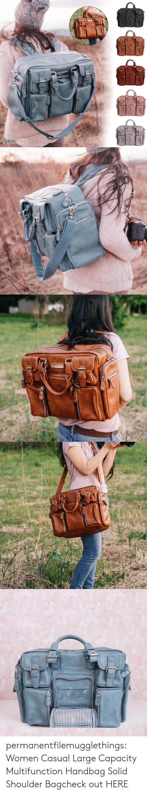 Tumblr, Blog, and Women: Newchic   USE permanentfilemugglethings:  Women Casual Large Capacity Multifunction Handbag Solid Shoulder Bagcheck out HERE