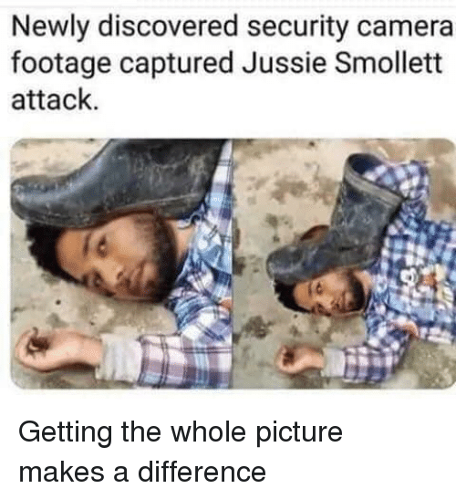 Camera, Security, and Picture: Newly discovered security camera  footage captured Jussie Smollett  attack.