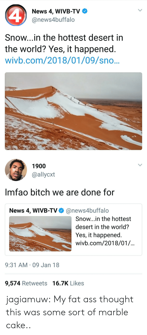 my-fat-ass: News 4, WIVB-TV  @news4buffalo  Snow...in the hottest desert in  the world? Yes, it happened.  wivb.com/2018/01/09/sno..   1900  @allycxt  Imfao bitch we are done for  News 4, WIVB-TV@news4buffalo  Snow...in the hottest  desert in the world?  Yes, it happened  wivb.com/2018/01/.  9:31 AM 09 Jan 18  9,574 Retweets 16.7K Likes jagiamuw:  My fat ass thought this was some sort of marble cake..
