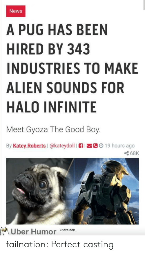roberts: News  A PUG HAS BEEN  HIRED BY 343  INDUSTRIES TO MAKE  ALIEN SOUNDS FOR  HALO INFINITE  Meet Gyoza The Good Boy.  By Katey Roberts I@kateydoll  C019 hours ago  68K  Uber Humor  Steve holt! failnation:  Perfect casting