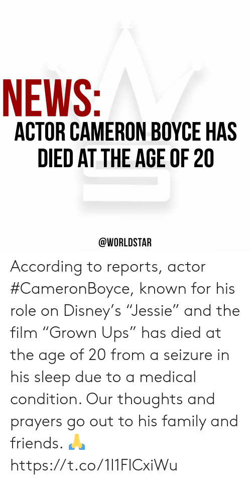 "Disney, Family, and Friends: NEWS:  ACTOR CAMERON BOYCE HAS  DIED AT THE AGE OF 20  @WORLDSTAR According to reports, actor #CameronBoyce, known for his role on Disney's ""Jessie"" and the film ""Grown Ups"" has died at the age of 20 from a seizure in his sleep due to a medical condition. Our thoughts and prayers go out to his family and friends. 🙏 https://t.co/1I1FICxiWu"