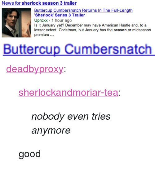 """uproxx: News for sherlock season 3 trailer  Buttercup Cumbersnatch Returns In The Full-Length  Sherlock' Series 3 Trailer  Uproxx 1 hour ago  Is it January yet? December may have American Hustle and, to a  lesser extent, Christmas, but January has the season or midseason  premiere.   Buttercup Cumbersnatch <p><a class=""""tumblr_blog"""" href=""""http://deadbyproxy.tumblr.com/post/69533126299/sherlockandmoriar-tea-nobody-even-tries"""" target=""""_blank"""">deadbyproxy</a>:</p> <blockquote> <p><a class=""""tumblr_blog"""" href=""""http://sherlockandmoriar-tea.tumblr.com/post/69421166480/nobody-even-tries-anymore"""" target=""""_blank"""">sherlockandmoriar-tea</a>:</p> <blockquote> <p><em>nobody even tries anymore</em></p> </blockquote> <p>good</p> </blockquote>"""