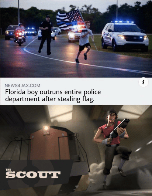 boy: NEWS4JAX.COM  Florida boy outruns entire police  department after stealing flag.  THE  SCOUT