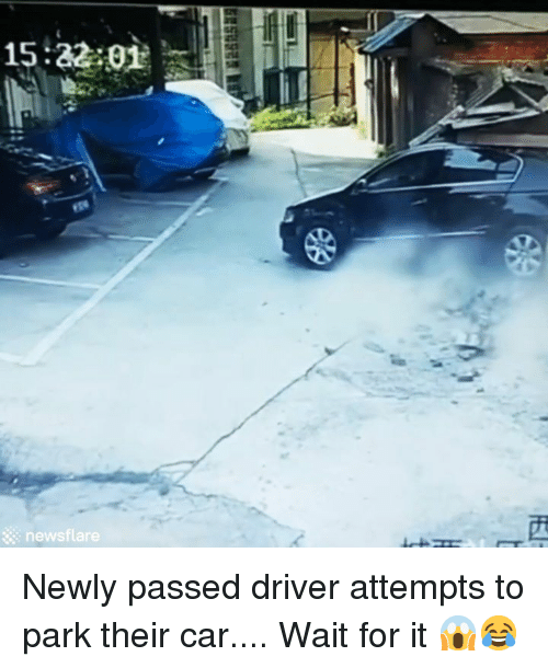 Car, Driver, and Park: newsflare Newly passed driver attempts to park their car.... Wait for it 😱😂