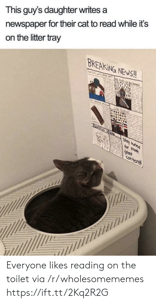 On The Toilet: newspaper for their cat to read while it's  on the litter tray  This guy's daughter writes a  BREAKING NEWS!!  TH  Cr  Co  Stay tunad  for more  great  Contentt Everyone likes reading on the toilet via /r/wholesomememes https://ift.tt/2Kq2R2G