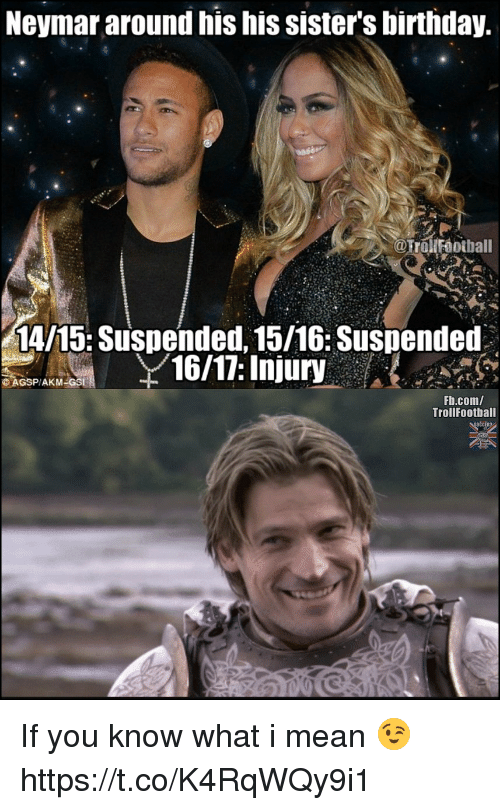 Birthday, Memes, and Neymar: Neymar around his his sister's birthday.  @Trollroothall  14/15: Suspended, 15/16: Suspended  16/17: Injury  Fb.com/  TrollFootball If you know what i mean 😉 https://t.co/K4RqWQy9i1