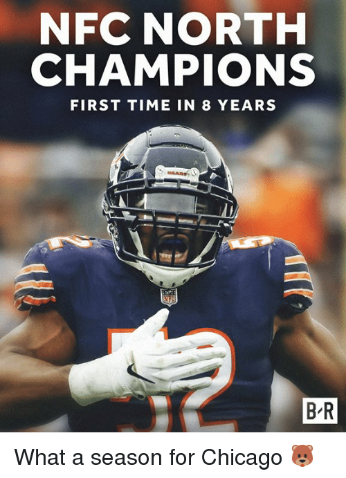 Chicago, Time, and Nfc: NFC NORTH  CHAMPIONS  FIRST TIME IN 8 YEARS  B-R What a season for Chicago 🐻