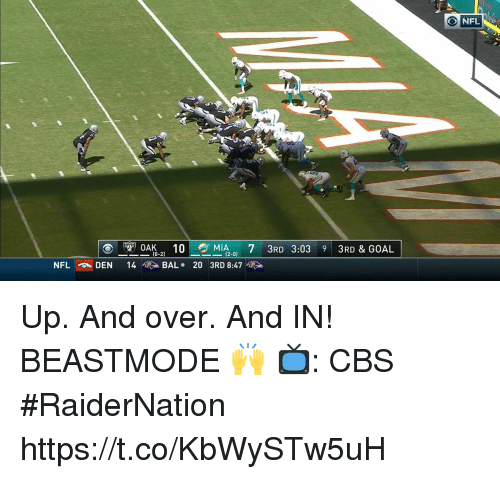Memes, Nfl, and Cbs: NFL  10  713RD 3:03 9 3RD & GOAL  ,  (0-2)  NFL  DEN  14  >BAL . 203RD 8:47噬> Up. And over. And IN!  BEASTMODE 🙌  📺: CBS #RaiderNation https://t.co/KbWySTw5uH