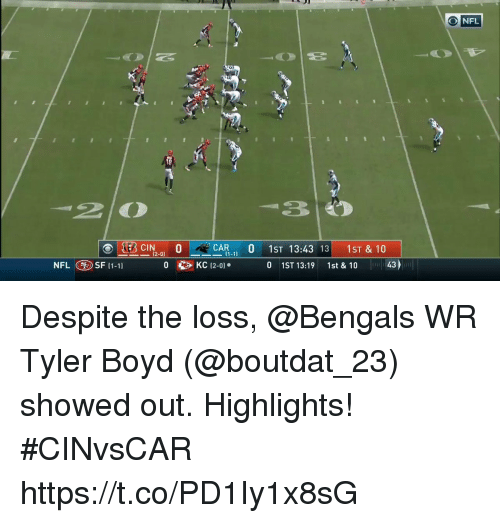 Memes, Nfl, and Bengals: NFL  2 0  30  CAR 0 1ST 13:43 13 1ST & 10  12-01  NFL SF (1-11  01ST 13:19  1st & 10  43 Despite the loss, @Bengals WR Tyler Boyd (@boutdat_23) showed out. Highlights! #CINvsCAR https://t.co/PD1Iy1x8sG