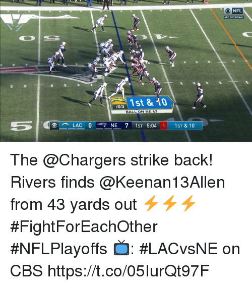 Memes, Nfl, and Cbs: NFL  AFC DIVISIONAL  s 1st & 0  :03  BALL ON NE 43 The @Chargers strike back!  Rivers finds @Keenan13Allen from 43 yards out ⚡️⚡️⚡️  #FightForEachOther #NFLPlayoffs  📺: #LACvsNE on CBS https://t.co/05IurQt97F