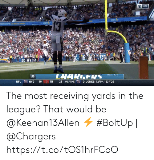 The League: NFL  ALLEN  13  SPATAL F THE LNES CSS  80  1G  GO 3OL  TARENS  2ND &  NFL ny NYG  28 HALFTIME ny D. JONES: 12/19, 123 YDS  10  TB The most receiving yards in the league? That would be @Keenan13Allen ⚡️  #BoltUp | @Chargers https://t.co/tOS1hrFCoO