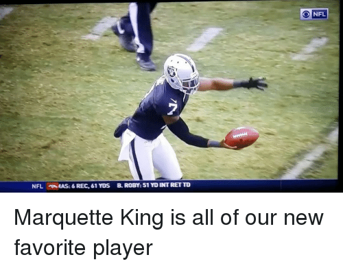Memes, 🤖, and Player: NFL auAS:6 REC, 61 YDs B. ROBY: 51 YDINTRETTO  NFL Marquette King is all of our new favorite player