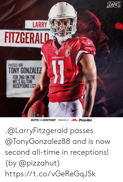 History: NFL  CARDINALS  LARRY  FITZGERALD  CARDINALS  31  PASSES HOF  TONY GONZALEZ  FOR 2ND ON THE  NFL'S ALL-TIME  RECEPTIONS LIST  Pizza Hut  HUTS FOR  HISTORY  PRESENTED BY .@LarryFitzgerald passes @TonyGonzalez88 and is now second all-time in receptions! (by @pizzahut) https://t.co/vGeReGqJ5k