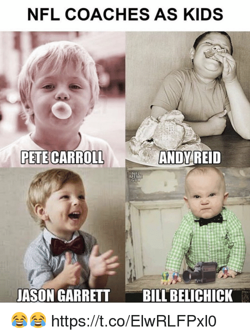 Andy Reid, Football, and Nfl: NFL COACHES AS KIDS  PETE CARROLL  ANDY  REID  JASON GARRETT BILBELCHICK 😂😂 https://t.co/ElwRLFPxl0