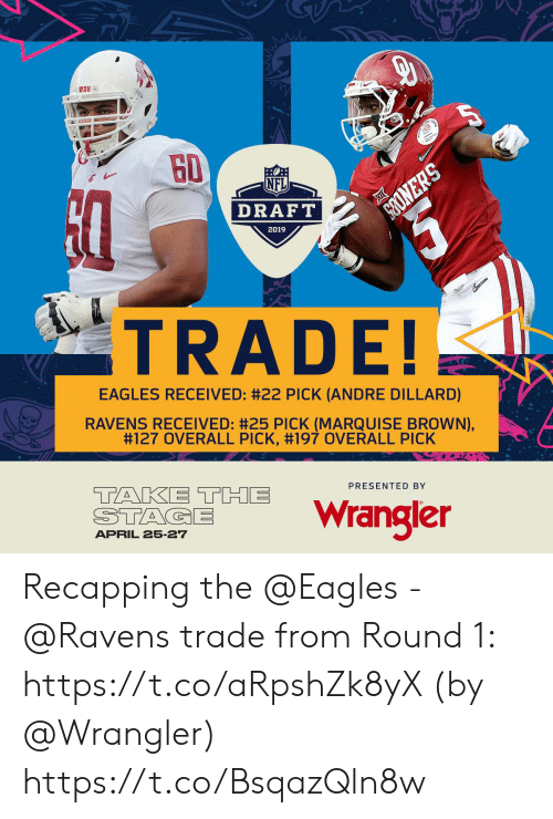 Philadelphia Eagles, Memes, and Nfl: NFL  DRAFT  2019  TRADE!  EAGLES RECEIVED: #22 PICK (ANDRE DILLARD)  RAVENS RECEIVED: #25 PICK (MARQUISE BROWN),  #127 OVERALL PICK, #197 OVERALL PICK  TANKI THE wrangler  PRESENTED BY  APRIL 25-27 Recapping the @Eagles - @Ravens trade from Round 1: https://t.co/aRpshZk8yX (by @Wrangler) https://t.co/BsqazQln8w