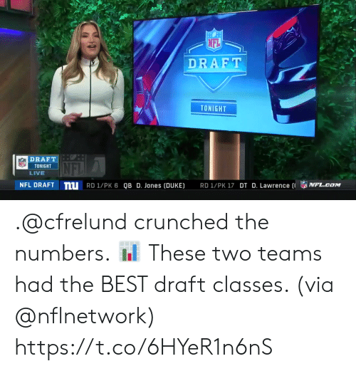 esmemes.com: NFL  DRAFT  TONIGHT  DRAFT  NTONIGHT  LIVE  NFL  nu  NFL DRAFT  NFL.caM  RD 1/PK 6 QB D. Jones [DUKE)  RDI/PK17 DT D. Lawrence (I .@cfrelund crunched the numbers. 📊  These two teams had the BEST draft classes. (via @nflnetwork) https://t.co/6HYeR1n6nS