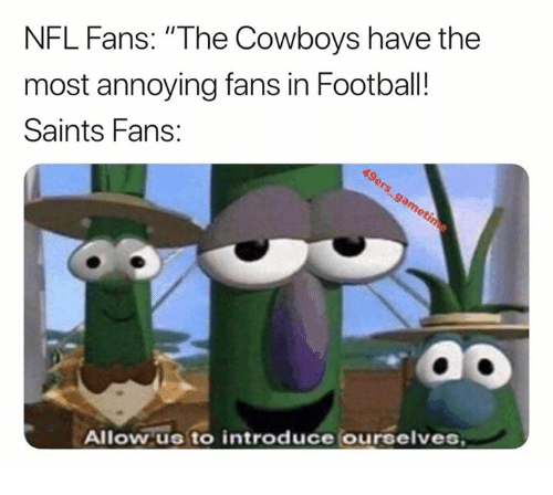 """Most Annoying: NFL Fans: """"The Cowboys have the  most annoying fans in Football!  Saints Fans:  Allow us to introduce ourselves"""