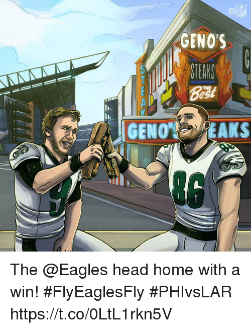 Philadelphia Eagles, Head, and Memes: NFL  GENOS  THE The @Eagles head home with a win! #FlyEaglesFly #PHIvsLAR https://t.co/0LtL1rkn5V
