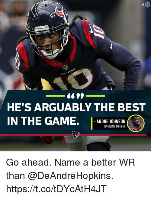 Memes, Nfl, and The Game: NFL  HE'S ARGUABLY THE BEST  IN THE GAME. ANDRE JOHNSON  VIA HOUSTON CHRONICLE Go ahead.  Name a better WR than @DeAndreHopkins. https://t.co/tDYcAtH4JT