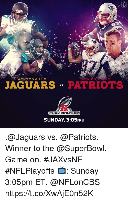 Memes, Nfl, and Patriotic: NFL  JAGS  T3N  AGS  ACKSONVILLe  NEW ENGEAND  JAGUARSPATRIOTS  CHAMPIONSHIP  SUNDAY,3:05PM ET .@Jaguars vs. @Patriots. Winner to the @SuperBowl.  Game on. #JAXvsNE #NFLPlayoffs  📺: Sunday 3:05pm ET, @NFLonCBS https://t.co/XwAjE0n52K
