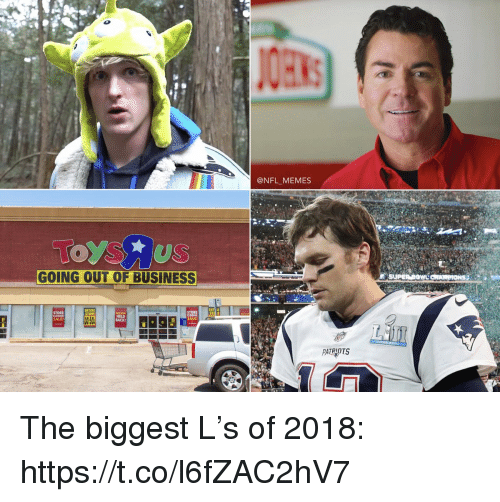Football, Memes, and Nfl: @NFL MEMES  GOING OUT OF BUSINESS  ENTIRE  STORE  STORE  ST  SALE!  PATRIOTS The biggest L's of 2018: https://t.co/l6fZAC2hV7