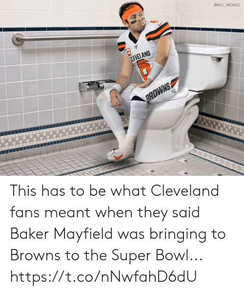 Football, Memes, and Nfl: @NFL_MEMES  LEVELAND  BRDWNS This has to be what Cleveland fans meant when they said Baker Mayfield was bringing to Browns to the Super Bowl... https://t.co/nNwfahD6dU