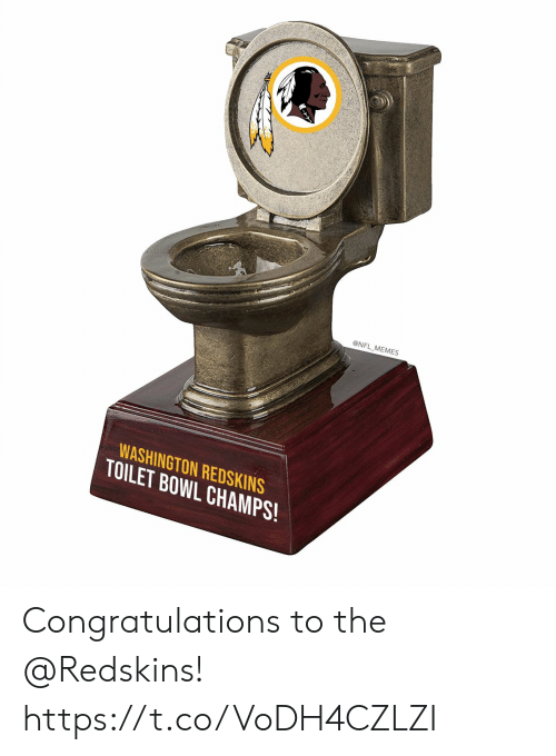 Football, Memes, and Nfl: @NFL MEMES  WASHINGTON REDSKINS  TOILET BOWL CHAMPS! Congratulations to the @Redskins! https://t.co/VoDH4CZLZI