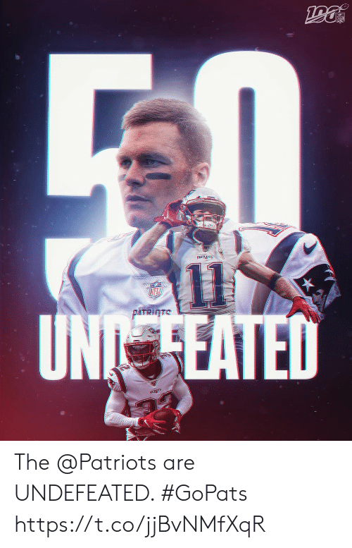 Memes, Nfl, and Patriotic: NFL  PATRIOTS  11  UN EATED  NFL  PATRITE  PATS The @Patriots are UNDEFEATED. #GoPats https://t.co/jjBvNMfXqR