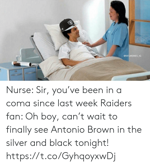 Football, Nfl, and Sports: @NFLMEMES_IG Nurse: Sir, you've been in a coma since last week  Raiders fan: Oh boy, can't wait to finally see Antonio Brown in the silver and black tonight! https://t.co/GyhqoyxwDj
