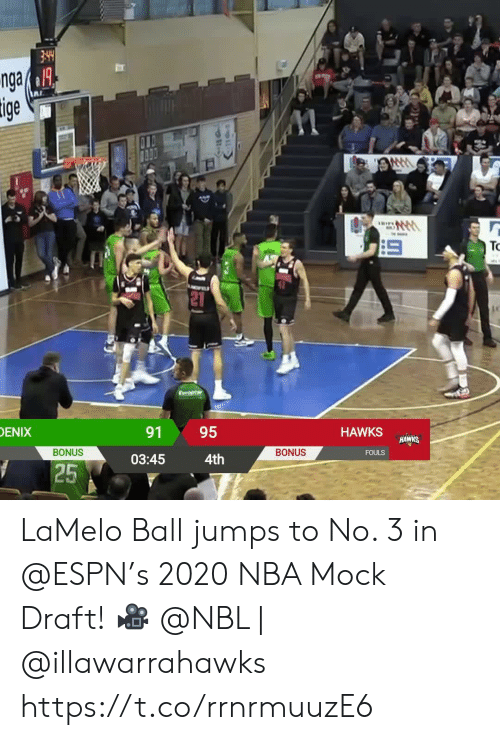 Espn, Memes, and Nba: nga& 1A  tige  TRIF  TO  DENIX  95  91  HAWKS  HAWKS  BONUS  BONUS  FOULS  4th  03:45  25 LaMelo Ball jumps to No. 3 in @ESPN's 2020 NBA Mock Draft!   ? @NBL | @illawarrahawks    https://t.co/rrnrmuuzE6