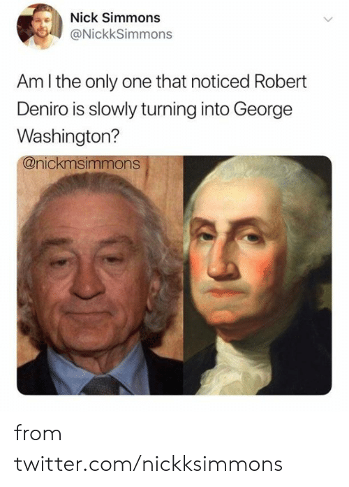 Dank, Twitter, and George Washington: Nick Simmons  @NickkSimmons  Am I the only one that noticed Robert  Deniro is slowly turning into George  Washington?  @nickmsimmons from twitter.com/nickksimmons