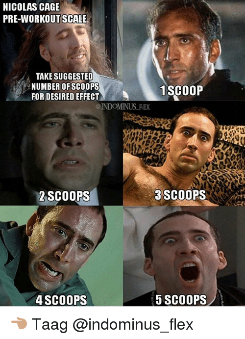 Nicolas Caged: NICOLAS CAGE  PRE-WORKOUT SCALE  TAKE SUGGESTED  NUMBER OF SCOOPS  1 SCOOP  FOR DESIRED EFFECT  @INDOMINUS REX  3 SCOOPS  2 SCOOPS  5 SCOOPS  4 SCOOPS 👈🏽 Taag @indominus_flex