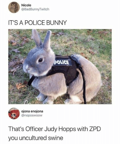 hopps: Nicole  @BadBunnyTwitch  IT'S A POLICE BUNNY  OLICE  ojona enojona  @noposwoow  That's Officer Judy Hopps with ZPD  you uncultured swine