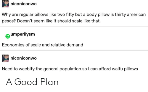 Tumblr, American, and Good: niconiconwo  Why  regular pillows like two fifty but a body pillow is thirty american  are  pesos? Doesn't seem like it should scale like that.  umperilysm  Economies of scale and relative demand  niconiconwo  Need to weebify the general population so I can afford waifu pillows A Good Plan