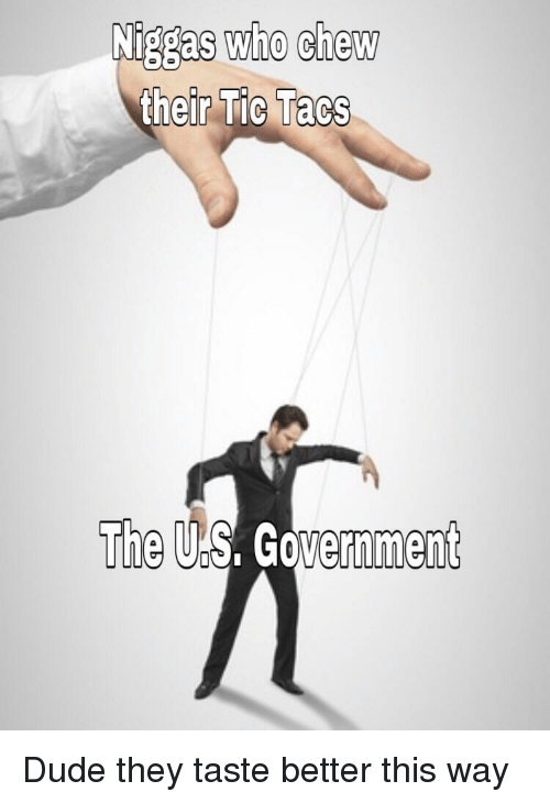 Dude, Government, and Who: Niggas who chew  r Tic Tacs  The US. Government Dude they taste better this way