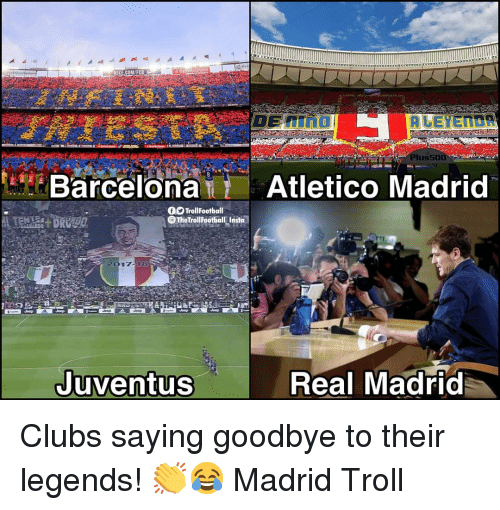 Barcelona, Memes, and Nike: NIKE.COM/FC  Plus50  Barcelona Atletico Madrid  f9 TrollFootball  OTheTrollFootball Insta  2017 18  Juventus  Real Madrid Clubs saying goodbye to their legends! 👏😂 Madrid Troll