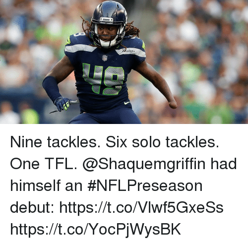 Memes, 🤖, and One: Nine tackles. Six solo tackles. One TFL.  @Shaquemgriffin had himself an #NFLPreseason debut: https://t.co/Vlwf5GxeSs https://t.co/YocPjWysBK