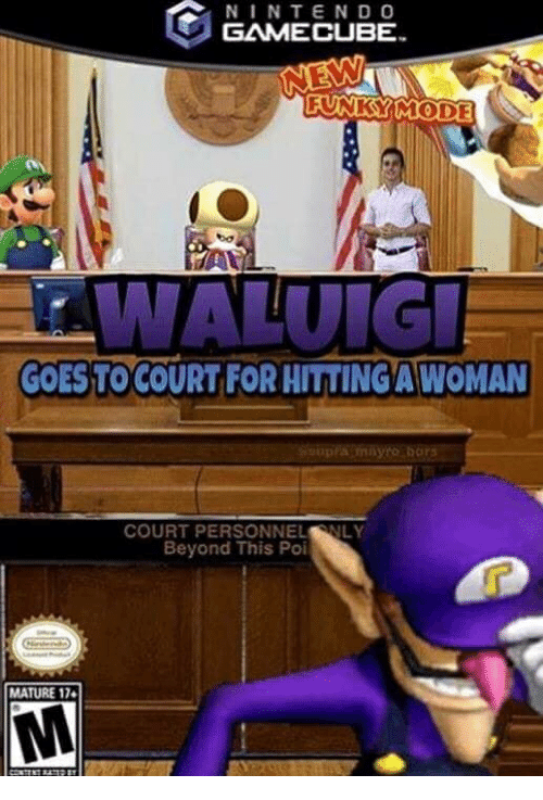 Gamecube, Poi, and Beyond: NINTEND O  GAMECUBE  FUNKY IMODE  GOESTO COURT FOR HITTİNGAWOMAN  COURT PERSONNELNLY  Beyond This Poi  MATURE 17