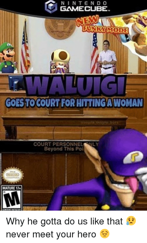 SpongeBob, Never, and Hero: NINTEND O  GAMECUBE  FUNKYIMODE  GOESTO COURT FOR HITTING A WOMAN  COURT PERSONNEL NLY  Beyond This Poi  MATURE 17. Why he gotta do us like that 😥 never meet your hero 😔