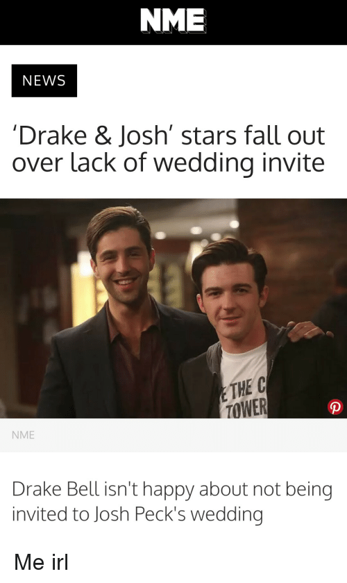 Drake Not Invited To Josh Wedding.Nme News Drake Josh Stars Fall Out Over Lack Of Wedding Invite The