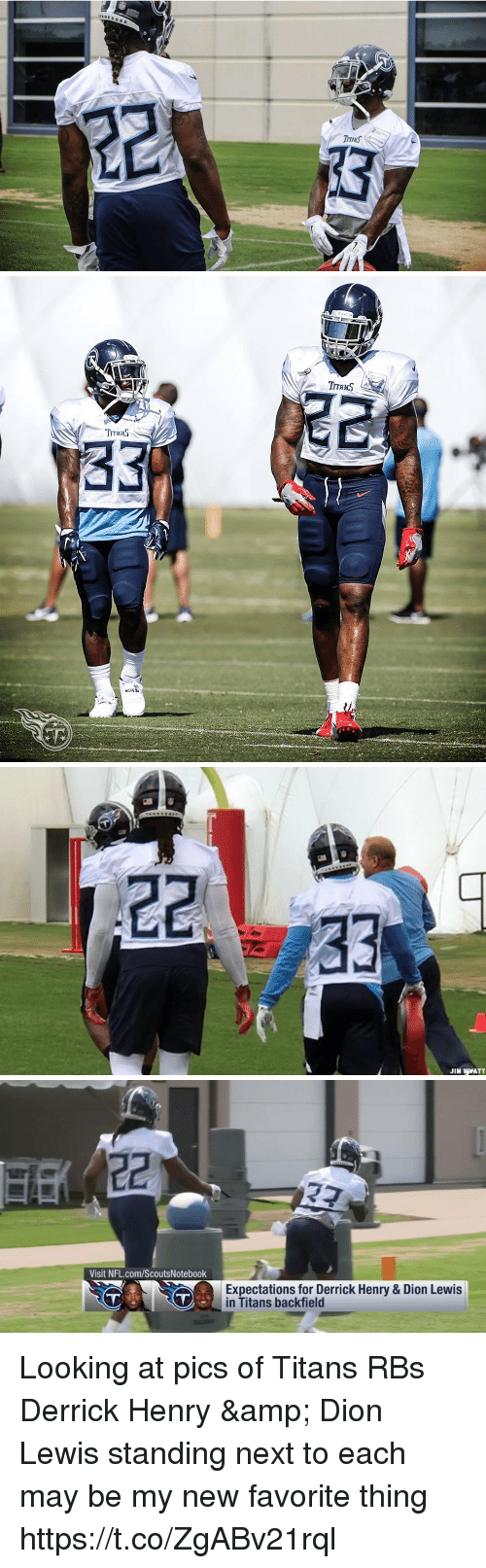 Derrick Henry: NNES   TTaMS   JIM WWATT   Visit NFL.com/ScoutsNotebook  Expectations for Derrick Henry & Dion Lewis  in Titans backfield Looking at pics of Titans RBs Derrick Henry & Dion Lewis standing next to each may be my new favorite thing https://t.co/ZgABv21rql