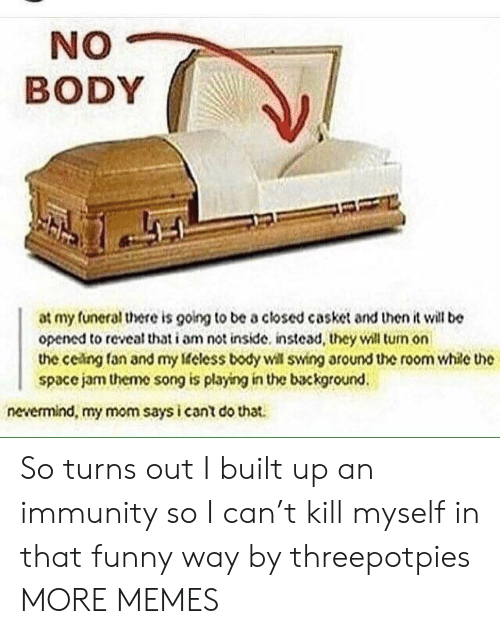 Dank, Funny, and Memes: NO  BODY  at my funeral there is going to be a closed casket and then it will be  opened to reveal that i am not inside. instead, they will turm on  the ceing fan and my eless body will swing around the room while the  space jam theme song is playing in the background.  nevermind, my mom says i cant do that. So turns out I built up an immunity so I can't kill myself in that funny way by threepotpies MORE MEMES