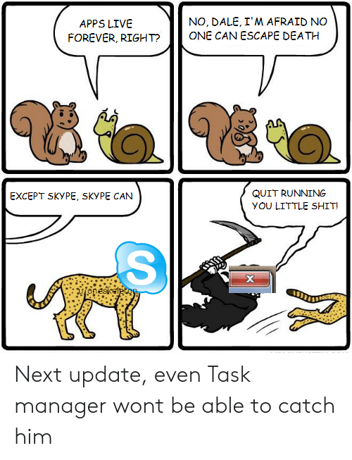 Skype: NO, DALE, I'M AFRAID NO  ONE CAN ESCAPE DEATH  APPS LIVE  FOREVER, RIGHT?  QUIT RUNNING  EXCEPT SKYPE, SKYPE CAN  yOU LITTLE SHIT!  х  onesketecoy Next update, even Task manager wont be able to catch him
