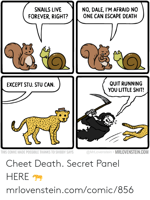 dale: NO, DALE, I'M AFRAID NO  ONE CAN ESCAPE DEATH  SNAILS LIVE  FOREVER, RIGHT?  QUIT RUNNING  YOU LITTLE SHIT!  EXCEPT STU. STU CAN.  @MrLovenstein MRLOVENSTEIN.COM  THIS COMIC MADE POSSIBLE THANKS TO SHIBBY SAYS Cheet Death.  Secret Panel HERE 🐆 mrlovenstein.com/comic/856